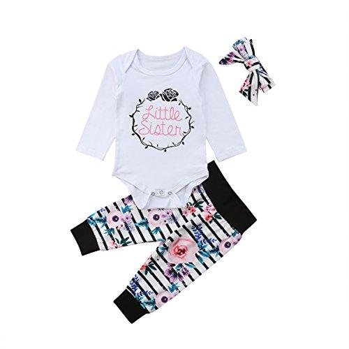 Baby Mädchen Kleine Schwester und Große Schwester Blume Gedruckt Strampler T Shirts Lange Legging Hosen 3tlg Kleidung Outfits (70/0-3Monate, 2 Little Sister)