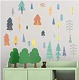 Etiqueta de la pared de color Vinilo Forest Tree Decal Extraíble Wallpaper Slef Adhesivo para el Bebé Dormitorio de Los Niños Decoración Del Equipamiento Del Hogar