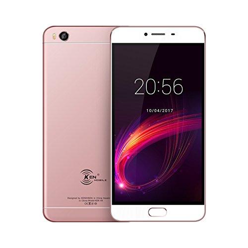 KENXINDA V8 - Smartphone libre Android 6.0 (pantalla de 5.5''HD, 4G, cámara de 13 MP + 8MP, 2 GB de RAM + 16 GB de ROM, Móviles MTK6735 Quad-Core 1.5 GHz,Bateria con 3000mAh ) (Oro rosa)