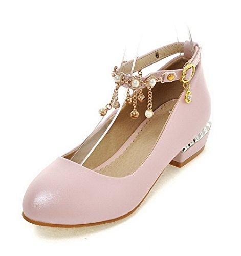 AgooLar Damen Rund Zehe Niedriger Absatz Blend-Materialien Rein Schnalle Pumps Schuhe Pink