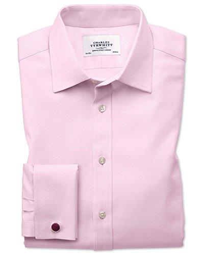 Kavallerie-twill (Extra Slim Fit Kavallerie-Twill Hemd aus ägyptischer Baumwolle in HellRosa Umschlagmanschette)