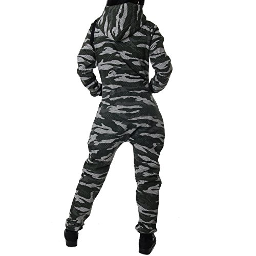 Crazy Age Damen Jumpsuit Camouflage Warm, Weich und Kuschelig Overall Onesie Jogging - Freizeit Anzug CA 2850 Oliv