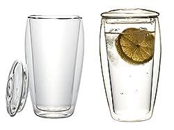 """2x 400ml XL doppelwandige Thermogläser mit Glasdeckel (Thermo-Glas mit Schwebe-Effekt), ideal für Eistee, fürs Büro, unterwegs oder als Geschenk, """"LaBionda"""" von Feelino"""