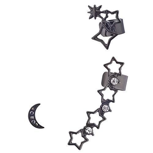 LUX Zubehör Hämatit und Pavé Stein Edgy Ausschnitt Star Celestial Ohr Manschette (Billig-ohr-messgeräte)