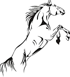 SWORNA Animal Series A Running Pale Horse Removable Vinyl Wall Art Decals Decor Wall Mural Decal Stickers for Bedroom/Living Room/Playroom/Office/Home Office/Sitting Room/Kindergarten/Classroom DIY Wall Art Decoration (18 Inch Height X 24 Inch Width, Matte Black, Large)