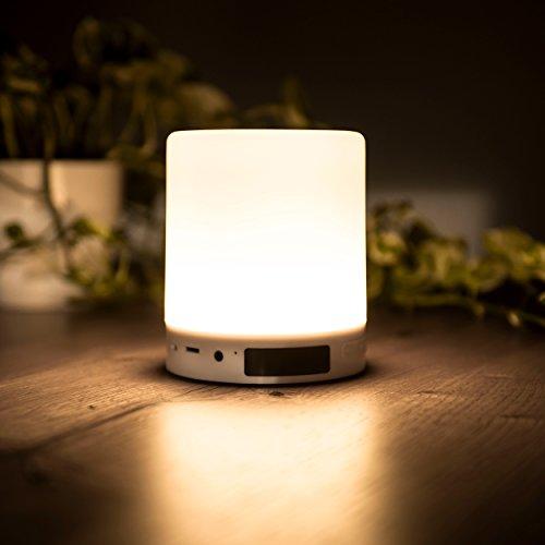 Preisvergleich Produktbild All in One LED Beleuchtung | dimmbare 360° LED Lampe mit Touch Sensor | mit Bluetooth Lautsprecher Uhr/LED Anzeige Radio Weckfunktion | unters. SD-Karte, Sleep-mode, Hand frei Telefonat (warmweiß)