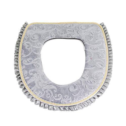 Baoblaze toilette copri sedile, tappetino wc bagno caldo morbido lavabile sedile del water cuscino - grigio