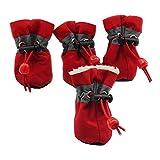 LIBWX 4 Pezzi/Set Pet Inverno Caldo Morbido Cashmere Antiscivolo Scarpe da Pioggia per Cane Pet Antivento Morbido Calzature Antiscivolo Scarpe Impermeabili,Rosso,L