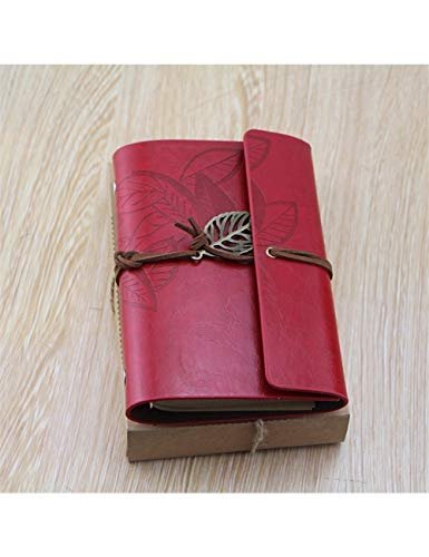 ZLJHH 1 Pc Retro Journal Notebook Vintage In Pelle Sketchbook Planner Notepad Scuola Ufficio Forniture Fisse,Red Wine