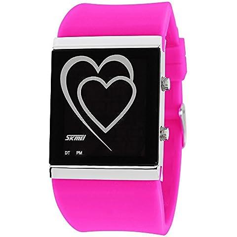 ufengke® cuore creativo condotto orologio da polso gelatina digitale,due coppie amanti romantico racconto di amore regalo polso orologio da polso,rosa rossa - Polso Amanti Orologi