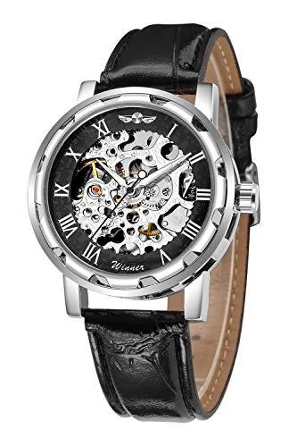 Reloj de pulsera mecánico con engranajes a la vista