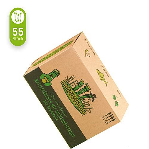 BambusBande - Baby Wattestäbchen aus Bambus & Baumwolle mit Sicherheitskopf, 55 Stück, Nachhaltige Alternative zu Holz & Plastik, 100% Biologische & Umweltfreundliche Ohrenstäbchen