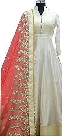 Rangrasiya Women's Banglori Silk Anarkali Gown (WM0819_White and Pink_Free Size)
