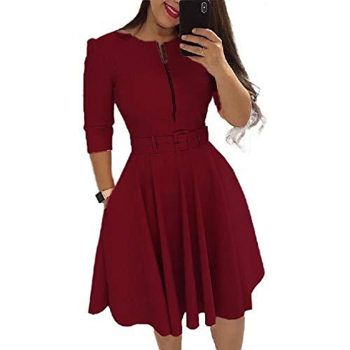 Flared Sleeve Velvet Kleid (CuteRose Women Zipper Highwaist Slim Fitted Retro Belted Swing Flared Dress Wine Red L)