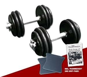 Gummi Kurzhantel-Set 2 x 15 kg (Gesamtgewicht 30 kg) inkl. Griff-Pads und Übungsanleitung