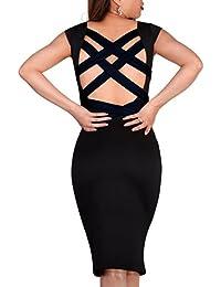 SODACODA Midi-Kleid mit extravaganten Rücken - Ärmellos & Knielang - Büro Abend Party Club Disco Cocktail Sommer Midi-Kleidchen