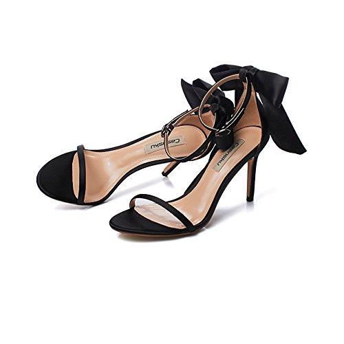 8.5cm noir, talons hauts de couleur nude, sandales, chaussures d'étudiant occasionnels, une boucle avec noeud de satin de soie sexy amende