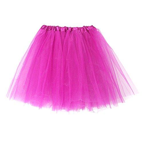Hot Kostüm Zigeuner - Andouy Damen Tutu Rock Mini Tüll Organza Petticoat Balletttanz Layred Kostüm Dress-up Sexy Größe 34-44(34-44.Hot Pink)