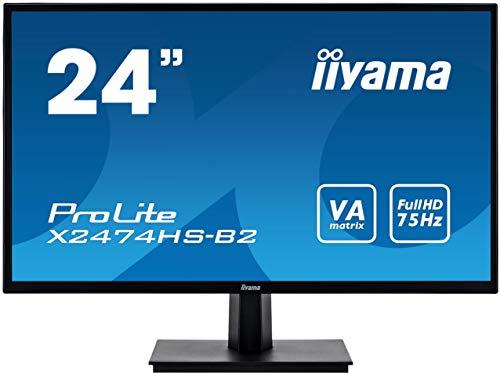 "Iiyama Prolite X2474HS-B2 Écran LED VA Full HD VGA HDMI DisplayPort, Noir 60 cm (23, 6"")"