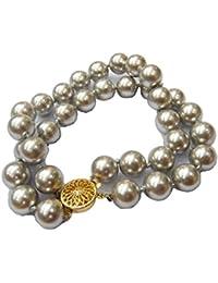 Schmuckwilly Muschelkernperlen Perlenarmband Perlen - Muschelkernperlen Armband 2-reihig silber Hochwertige mb0054