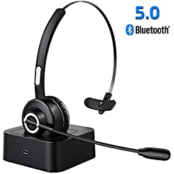 ESOLOM Casque Bluetooth avec Micro sans Fil,Casque avec Base de Charge,Casque Téléphonique,Casque PC Professionnel pour Annulation de Bruit,Mains Libres,Call Center,Conducteur de Camion
