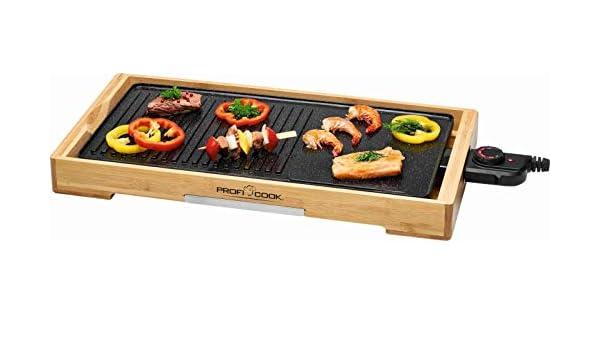 Teppanyaki termostato 2200 Watt Griglia elettrica con telaio in legno superficie grill di 51 cm grill elettrico da tavolo