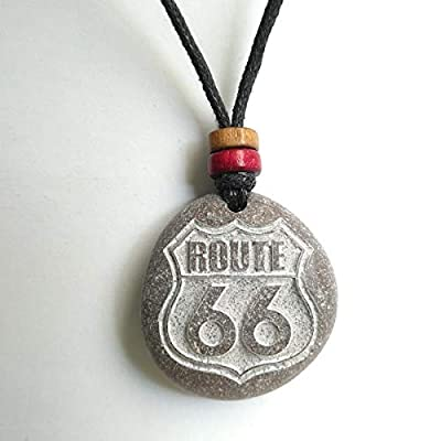 Pendentif SculptÉ Avec Route 66