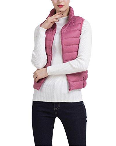 Sans Manche Gilet Ultra Légère Matelassé Veste Manteau Parka Blouson Pour Femme Caoutchouc Pink1