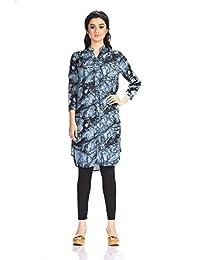 Aaina by Sanchari Women's Teal Tie-Dye Kurti