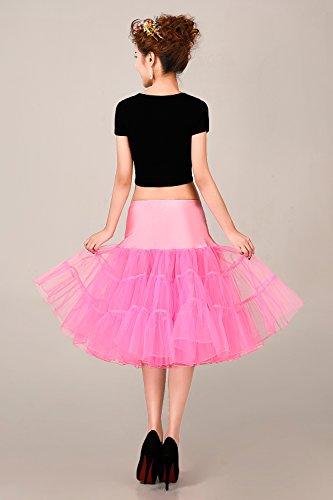 MicBridal® 1950s Braut Vintage Petticoat Unterrock Underskirt Crinoline für Rockabilly Kleid Pink