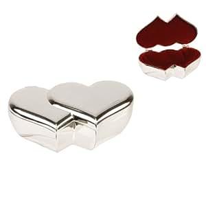 Double Heart Trinket Ring Box