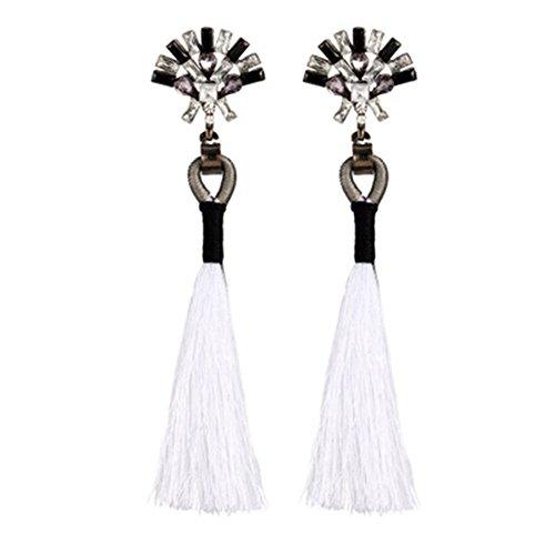 Diamant Ohrringe Fransen Ohr Clips Vintag Strass Kristall Quaste baumeln Ohrstecker Fashion Jewelry, weiß
