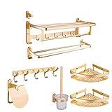KTMK Raumaluminium Bad-Hardware-Sätze an der Wand befestigte Badezimmer-Produkte Goldfarbe Zubehör-Toilettenbürste Sieben Stücke, A
