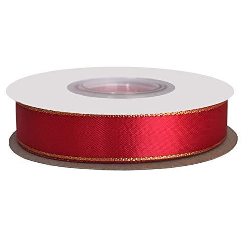 DUOQU Satinband, 0,8 cm breit, doppelseitig, goldfarben, metallisch kant, 50 m Rolle, Rot 5/8 inch wide and 25 yards length red gold metallic-edge satin ribbon -