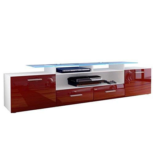 mobile porta tv credenza madia Valentino art. 1431 bianco bordeaux rosso lucido cm. 194