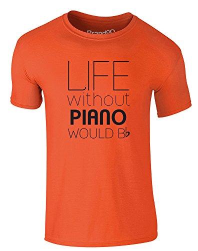 Brand88 - Life Without Piano Would Be Flat, Erwachsene Gedrucktes T-Shirt Orange/Schwarz