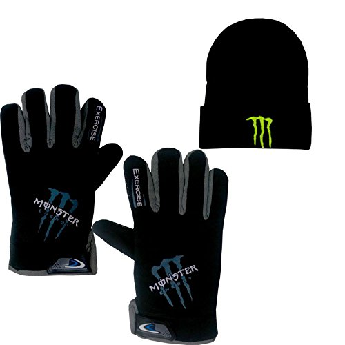 eraa Zombie Men's Women Woolen Bike Dotted Riding Gloves _Free With Woolen Cap_Charcoal_Free Size Both