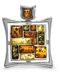 Multicolor Amber Sterling Silver Rectangular Mosaic Pendant