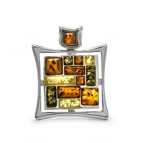 Multicolor Amber Sterling Silver Rectangular Mosaic Pendant