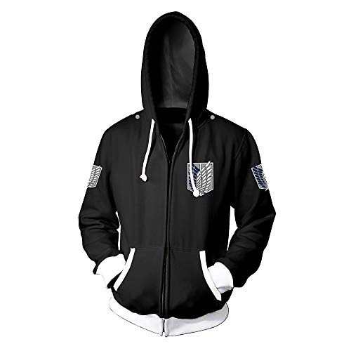 Jonyn 3D Hoodie Sweatshirt mit Kapuze Freizeit Langarm Pullover Unisex HD Druck (XXS-XXXL) Attack on Titan Zipper