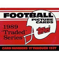 1989 Topps Traded Football Complete Mint 132 Card Set in Original Factory Set Box. Featuring Rookie Cards of Barry Sanders, Troy Aikman, Derrick Thomas, Deion Sanders and Many Others! by Topps