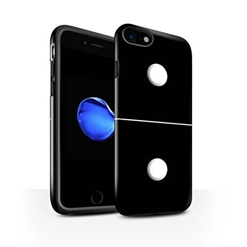 STUFF4 Glanz Harten Stoßfest Hülle / Case für Apple iPhone 8 / Schwarz Kachel 5/4 Muster / Domino/Dominos Kollektion Schwarz Kachel 1/1