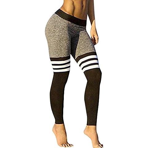 Tongshi Mujeres de la aptitud de la yoga de las polainas de la alta cintura de la raya del remiendo flacos empuja hacia arriba los pantalones (Negro, S)