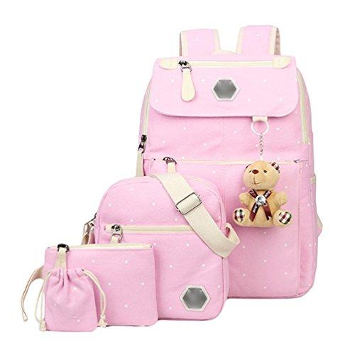 Imagen de youjia 5 pcs sets de útiles escolares para adolescentes, ocio colegio  + bolsos bandolera + estuches + cartera + colgante de oso de peluche pink