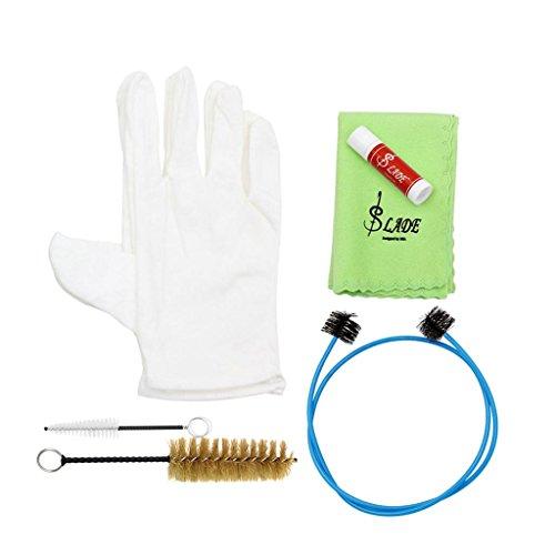 perfk 6 In 1 Messing Instrument Reinigung Pflege Kit Bürsten Handschuhe Tuch Öl Zubehör