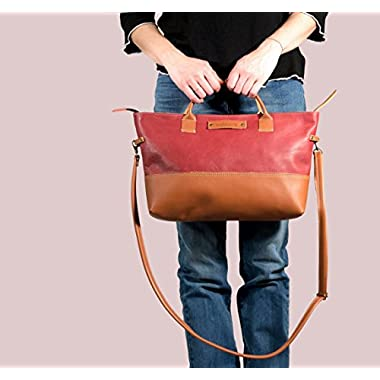 Leather handbag, hand bag, leather handbag marsala, women leather handbag, medium leather handbag, handmade leather…