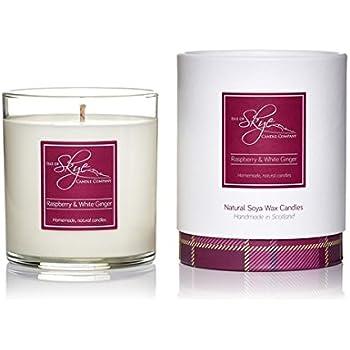 Isle of Skye Candle Company Raspberry and White Ginger Scottish Range Boxed Candle, White