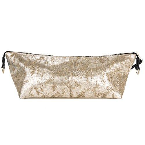 Vangoddy Reptilia Serie Borsa donna a mano shopping bag modello da spalla trama a maglia eco pelle (Oro/Nero) Oro/Nero