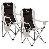 SUNMER Set di 2 sedie da Campeggio Pieghevoli e Imbottite, con portabicchieri e Tasca Laterale, Colore: Nero e Grigio