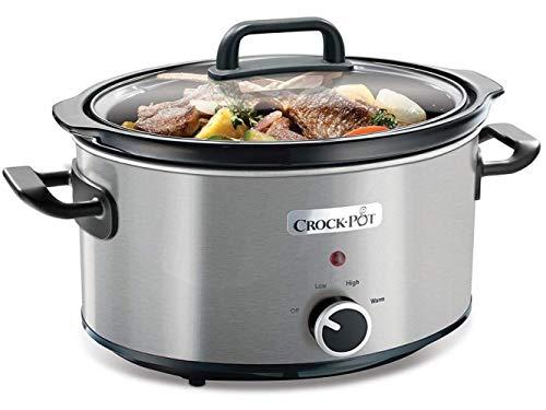 QSM Slow Cooker 3.5 Liter.Warmfunktion.Mit Rezeptheftchen.Spülmaschinenfest Deckel.Edelstahl.Reis Kocher,Silber,A